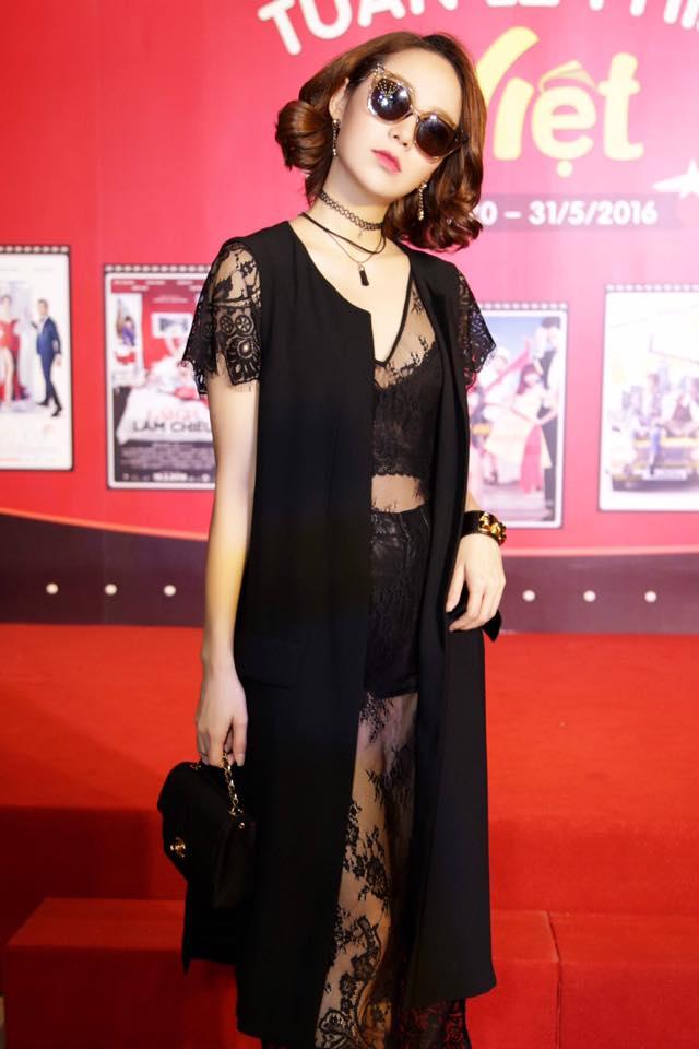 Style cá tính, Minh Hằng nổi bật trong buổi ra mắt Tuần lễ phim Việt Nam