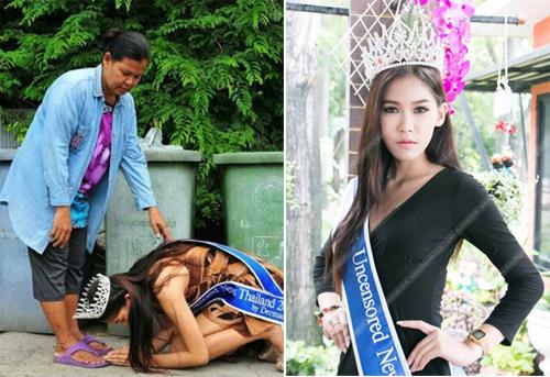 Hình ảnh hoa hậu Mint Kanistha (17 tuổi) sau khi giành ngôi vị ở cuộc thi sắc đẹp ở Thái Lan, cô về quê, quỳ dưới chân người mẹ là một lao công để bày tỏ lòng biết ơn công dưỡng dục.