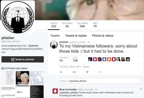 Hacker Phisher khẳng định đã có 5 thanh niên Việt Nam mạo danh khủng bố IS và tấn công vào webchat của Anonymous