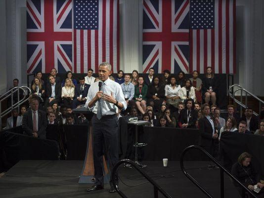 Tổng thống Mỹ Obama trong buổi phát biểu tại London (Anh)