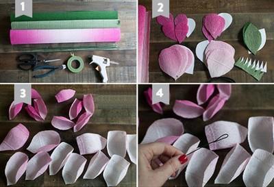 Cách làm hoa giấy rất đơn giản, đầu tiên cắt các cánh hoa theo mẫu