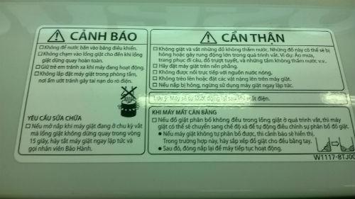cảnh báo trên máy giặt Panasonic