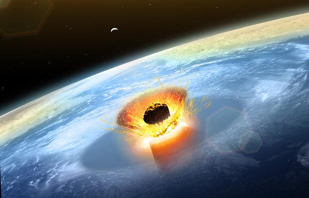 Mô phỏng hình ảnh thiên thạch va chạm Trái đất tạo ra miệng hố khổng lồ. Ảnh: AFP