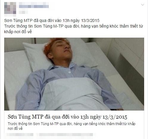 Sơn Tùng M-TP bị tung tin đồn thất thiệt, độc địa trên Facebook