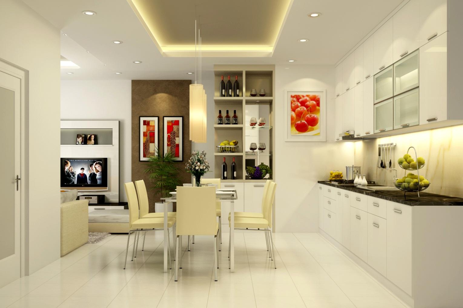 Phòng bếp với tông màu sáng giúp ngôi nhà rộng rãi