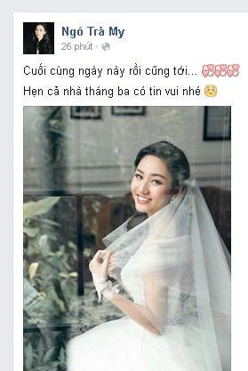 Á hậu Trà My 'khoe' ảnh cưới khiến fan ngỡ ngàng