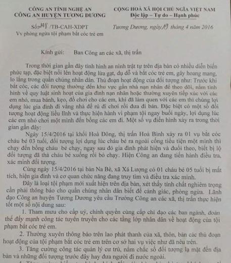 Công văn khuyến cáo về nạn bắt cóc trẻ em ở Nghệ An của công an huyện Tương Dương