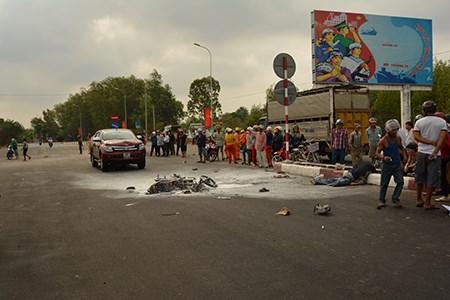 Hiện trường vụ tai nạn giao thông thảm khốc khiến xe máy bốc cháy, 1 người chết tại chỗ ở Bà Rịa – Vũng Tàu