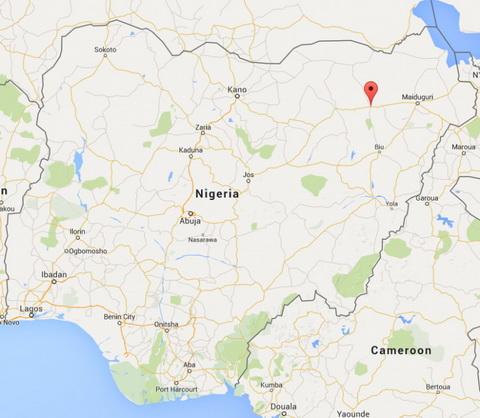 Vị trí xảy ra vụ bé gái 14 tuổi đánh bom liều chết khiến hơn 30 người thương vong ở Nigeria