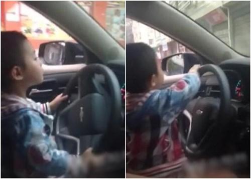Trước đó, ở Trung Quốc cũng từng xảy ra trường hợp trẻ em lái ô tô trên đường phố