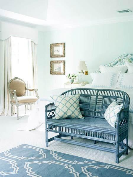 Vẻ đẹp tinh tế của căn phòng với sự kết hợp của màu xanh bọt biển, xanh thủy triều và trắng bọt xà phòng