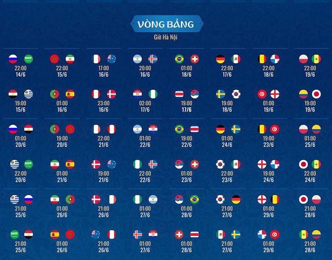 World Cup 2018: Lịch thi đấu chính thức khởi tranh từ 14/6 - ảnh 2