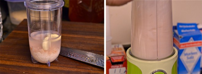 Lấy nước, tỏi, gừng, tôm, cơm nguội cho vào máy say sinh tố để làm món kim chi dưa leo