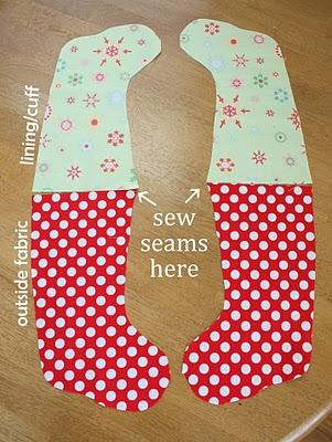 Khâu chiếc tất 2 màu làm quà giáng sinh handmade đơn giản