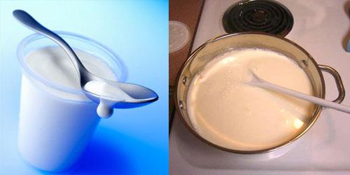 Cho sữa chua cái đã mua sẵn (sữa chua dùng làm men) và ngoáy đều từ từ