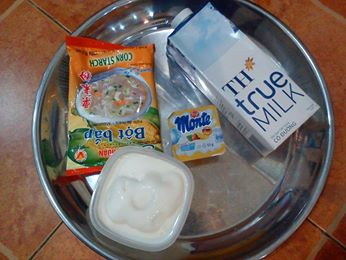 Nguyên liệu cho cách làm váng sữa khá đơn giản