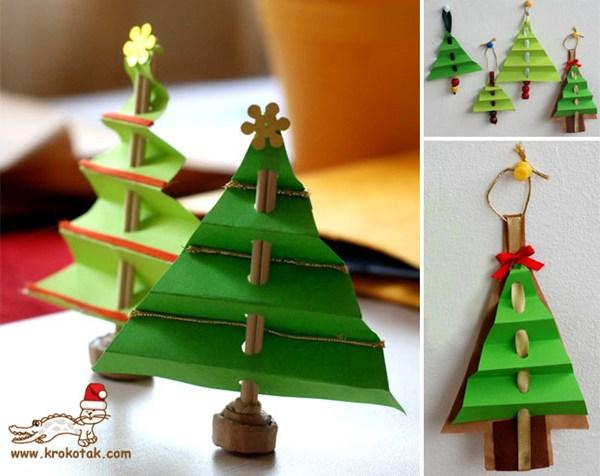 Cách làm cây thông noel trên tường bằng giấy