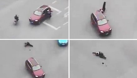 Hình ảnh từ hiện trường vụ tài xế vi phạm cán chết cảnh sát giao thông ở Trung Quốc