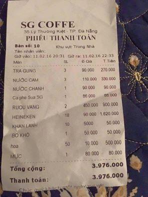 Tờ hóa đơn gần 4 triệu đồng của quán café SG Coffee khiến khách hàng cảm thấy bị 'chặt chém' ở Đà Nẵng