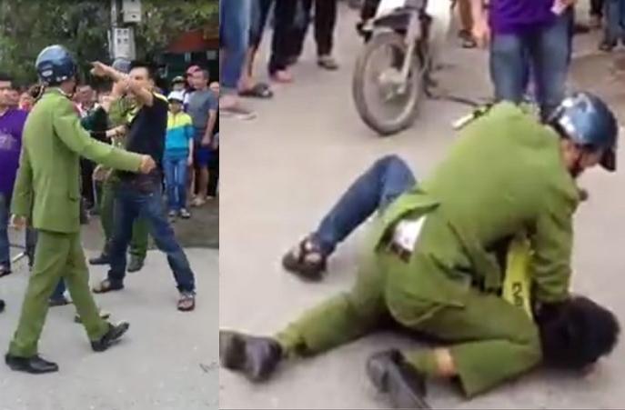 Đoạn video quay cảnh nam thanh niên chống đối công an giữa phố
