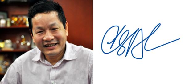 Chữ ký của ông chủ tập đoàn FPT Trương Gia Bình