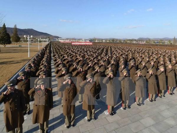 Binh sỹ quân đội Triều Tiên tại lễ tuyên thệ trung thành với Chủ tịch Kim Jong Un tại Bình Nhưỡng ngày 14/2