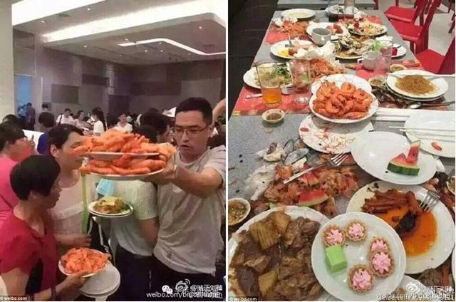 Clip giành ăn buffet ở Thái Lan ghi lại cảnh du khách Trung Quốc lấy thật nhiều thức ăn và sau đó bỏ thừa