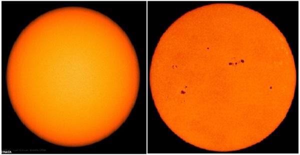 Hình ảnh so sánh khi có và không có vết đen Mặt trời