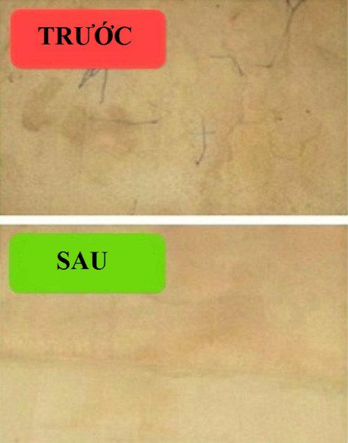 Thảm trải sàn dính bẩn: Chiếc thảm bị dính bẩn làm cả căn phòng mất hết thẩm mĩ? Chỉ cần pha 1 phần dấm với 2 phần nước xịt lên vết bẩn, phủ một chiếc khăn ẩm lên và dùng bàn ủi hơi nước làm sạch thảm trong 30 giây.