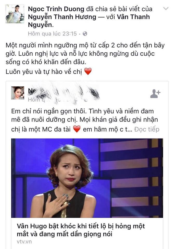 Sao Việt cùng khán giả gửi lời động viên MC Vân Hugo
