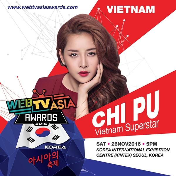 Chi Pu được đón chào nồng nhiệt tại WebTV Asia Awards 2016