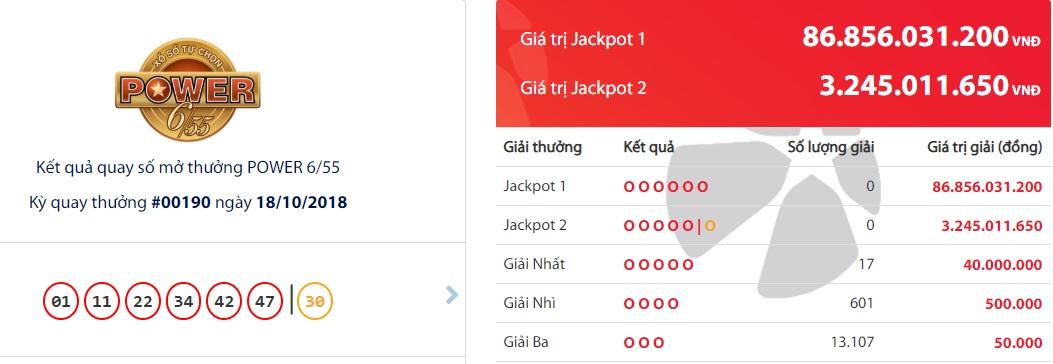 giải Jackpot, Xổ số Vietlott, vé số điện toán, vé số, xổ số Mega 6/55, Công ty Xổ số điện toán Việt Nam, Vietlott