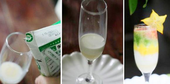 Hai lớp sữa lót dưới cùng rồi đến các lớp sinh tố