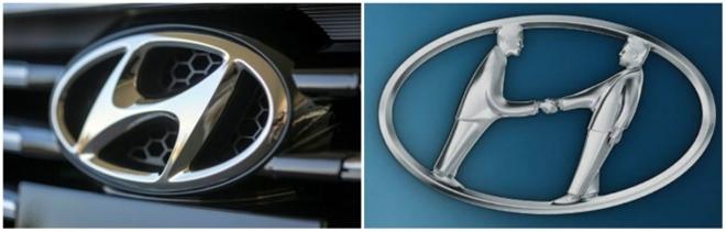 """Một số người có xu hướng nghĩ rằng logo của hãng xe Hàn Quốc Huyndai chính là chữ cái đầu tiên trong tên gọi của hãng. Thực ra chữ """"H"""" này tượng trưng cho hai người - khách hàng và đại diện công ty - đang bắt tay nhau."""