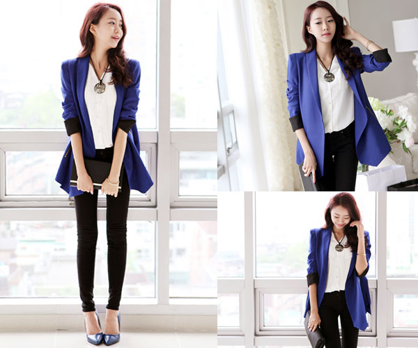 Gam màu xanh hiện đại, năng động và rất sang trọng với kiểu áo vest ngắn trẻ trung là dấu ấn đặc biệt trong bộ sưu tập Đông huyền ảo cho các nàng.