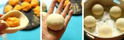 Nặn bánh và vo tròn. Lót sẵn lớp giấy nến bên dưới xửng hấp, đổ sẵn nước bên dưới, rồi đặt bánh lên trên.Nặn bánh và vo tròn. Lót sẵn lớp giấy nến bên dưới xửng hấp, đổ sẵn nước bên dưới, rồi đặt bánh lên trên.