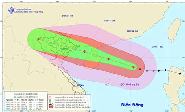 Bão Fung Wong tiếp tục di chuyển theo hướng Bắc Tây Bắc (hướng ra phía ngoài Biển Đông).