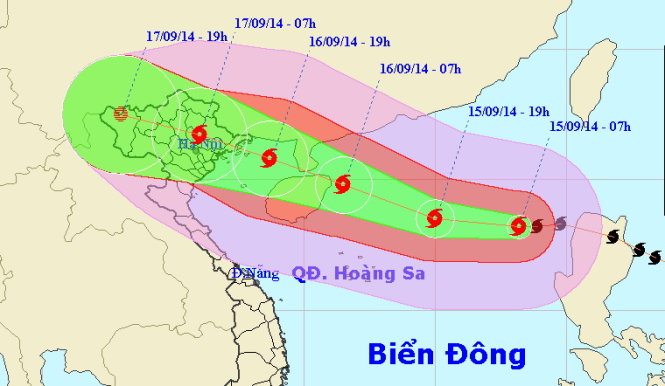 Sơ đồ đường đi của bão số 3/2014.