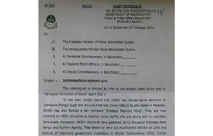 Bức thư được gửi đi từ chính quyền Balochistan liên quan tới các hoạt động của khủng bố ISIS ở Pakistan