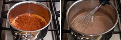 Trộn lẫn sữa tươi và bột ca cao, khuấy đều rồi đun nóng, khi hỗn hợp sôi thì tắt bếp.
