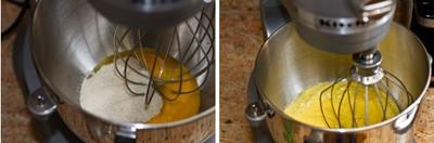 Đập trứng gà ra bát, thêm khoảng 7 thìa đường rồi dùng máy đánh trứng đều tay trong vòng 2 phút.