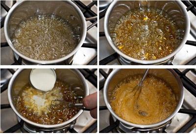 Hòa 6 muỗng canh đường với chút nước và đun lửa vừa trên bếp. Sau đó, vừa đun các bạn vừa khuấy cho đường tan hoàn toàn đến khi đường sôi, có màu nâu cánh gián rồi từ từ cho kem vào, để hỗn hợp sôi ở nhiệt độ cao.