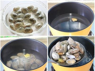 Ngao ngâm nước muối vớt ra, rửa lại bằng nước sạch. Cho vào nồi luộc cho đến khi ngao mở miệng. Sau đó, cho ngao ra để ráo nước. Phần nước ngao gạn lấy nước ngao trong, dùng để nấu canh rau mùng tơi, ngót hoặc rau đay đều rất ngon.