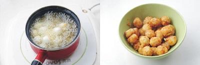 Luộc trứng trong một nồi nhỏ (nên cho thêm một ít muối để khi bóc vỏ trứng sẽ dễ dàng hơn nhé). Trứng chín, vớt ra tô nước lạnh, bóc sạch vỏ rồi để cho ráo nước. Sau đó, mở lửa nhỏ chiên trứng cho tới khi vàng đều thì vớt ra, để vào đĩa có thấm dầu.