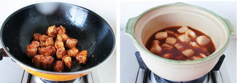 Khi thịt ba chỉ săn lại bạn rưới nước tương, đường, muối vào nồi thịt, đảo cho thịt thấm gia vị thì đổ nước xâm xấp bề mặt thịt, đun lửa lớn cho đến khi thịt sôi bùng lên thì hạ nhỏ lửa.