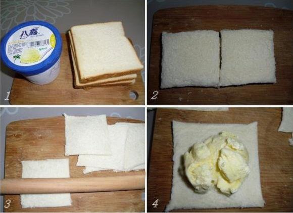 Đầu tiên với mỗi cặp lát bánh mì sẽ dùng cho một chiếc bánh kem chiên