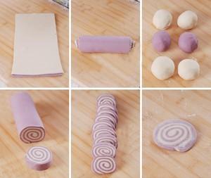 Cắt bột trắng và tím đã cán thành 2 tấm đều nhau. Dùng bàn chải nhúng nước phết ẩm đều trên mặt tấm bột tím rồi đặt khớp tấm bột trắng lên trên, miết nhẹ cho chúng dính vào nhau. Cuộn tròn và chặt tay 2 miếng bột đồng thời chừng 3 vòng là hết dải bột. Bọc thanh bột vào màng bọc thực phẩm ủ 30 phút cho bột nở gấp rưỡi hoặc gấp đôi thì lấy ra cắt thành 10 lát đều nhau để làm 10 bánh. Xoa một ít bột áo cho mỗi lát bột trước khi cán mỏng hơn. Trong lúc chờ ủ bột thì nhào thật kĩ phần bột còn lại, sau đó chia làm 10 phần đều nhau và vê tròn làm nhân bánh chay.
