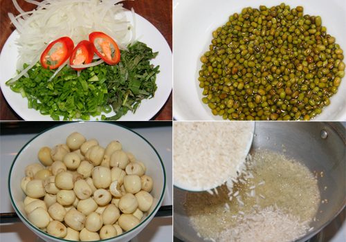 Đậu xanh đãi sạch, ngâm nở mềm, phi thơm tỏi, rang vàng gạo. Hạt sen cắt bỏ đầu den. Hành tây thái mỏng, các loại rau mùi hành lá thái nhỏ.