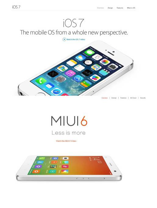 MIUI 6 của Xiaomi nhái hoàn toàn iOS7 của Apple