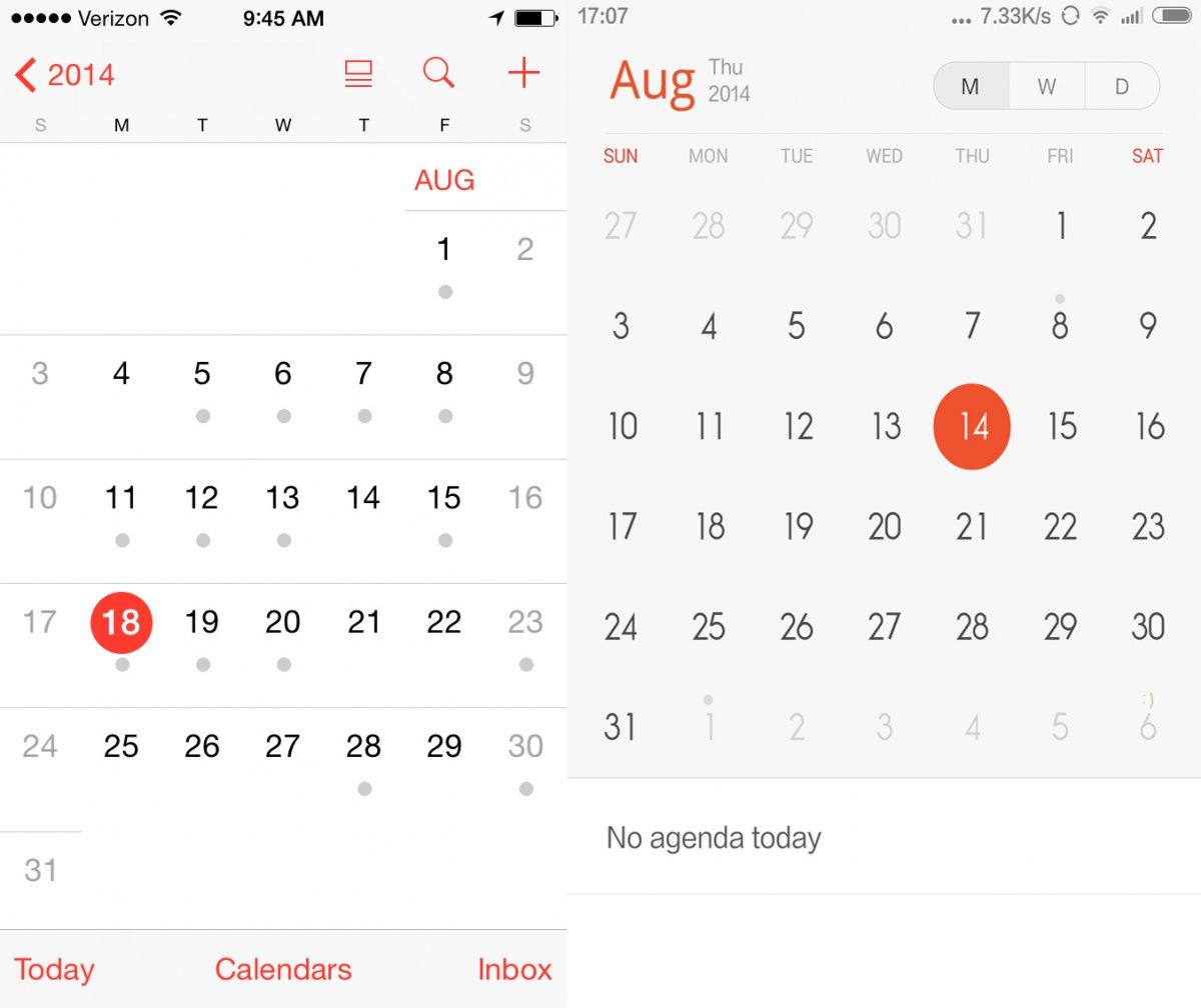 MIUI 6 của Xiaomi nhái hoàn toàn iOS7 của Apple: Ứng dụng Lịch (Calendars).
